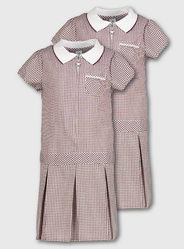 Maroon Gingham Sporty Dresses 2 Pack - 11 years