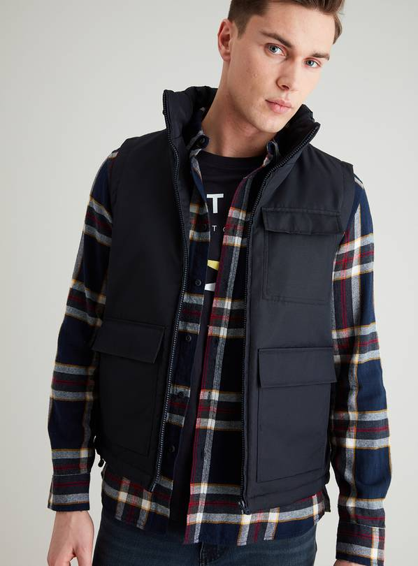 Dark Navy Pocketed Wadded Gilet - S