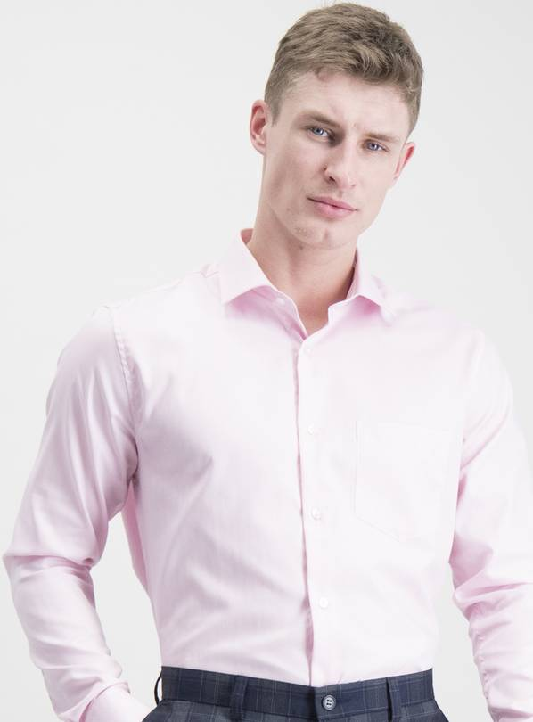 Pink Herringbone Tailored Fit Pure Cotton Shirt - 15.5