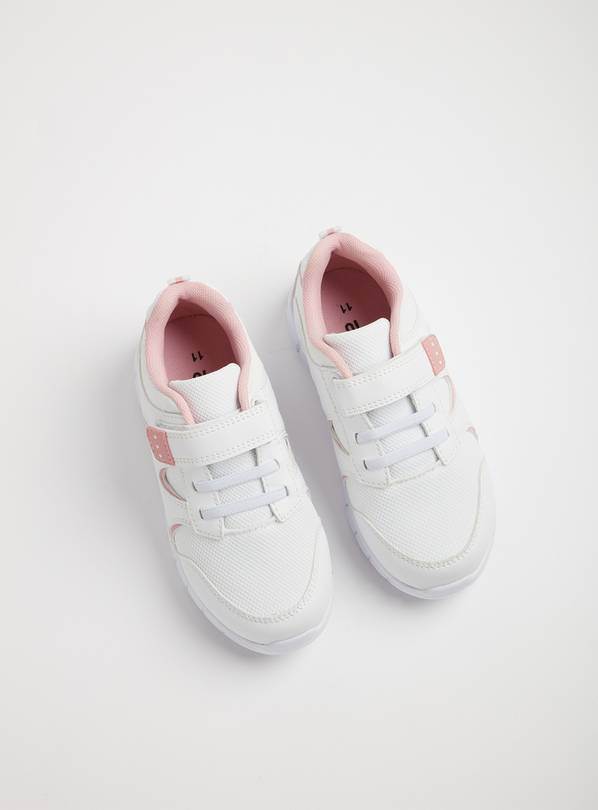 White & Pink School Trainers - 9 Infant