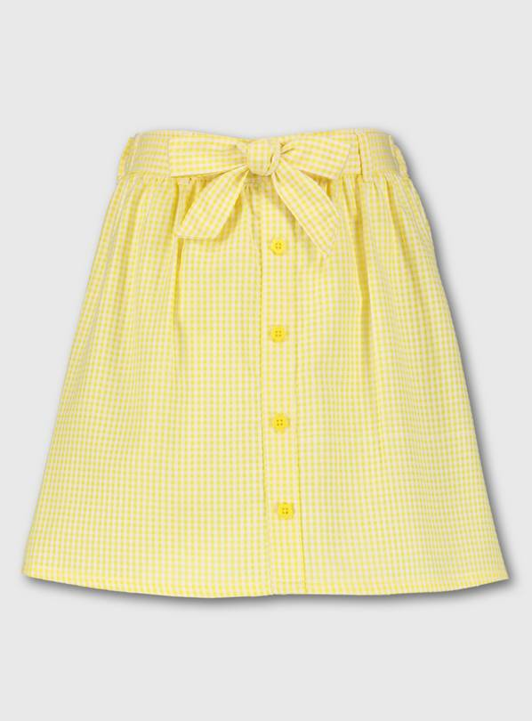 Yellow Gingham School Skirt - 8 years