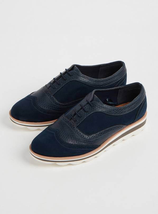 Sole Comfort Navy Bubble Sole Lace Up Brogues - 7