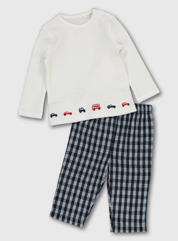 White Car Embroidery Top & Navy Check Trousers - 9-12 months