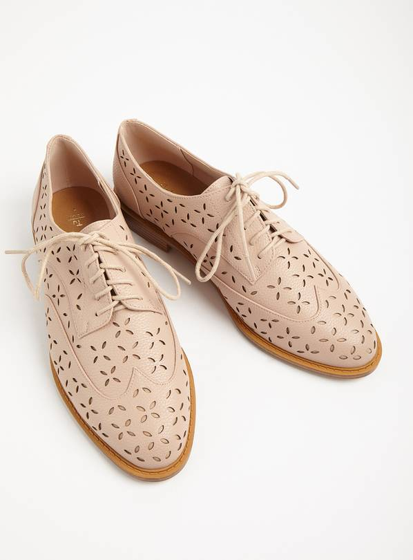 Nude Laser Cut Derby Shoes - 6