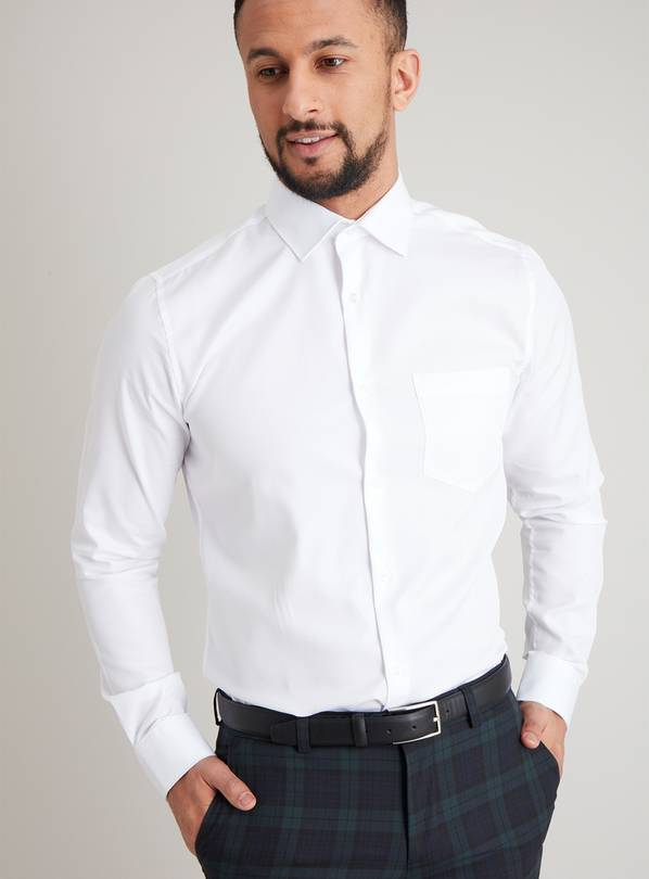 White Pure Cotton Twill Slim Fit Shirt - 18.5
