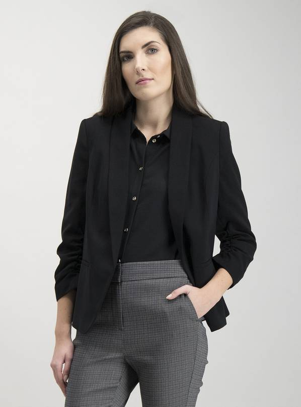 Black Ruched Sleeve Blazer - 26