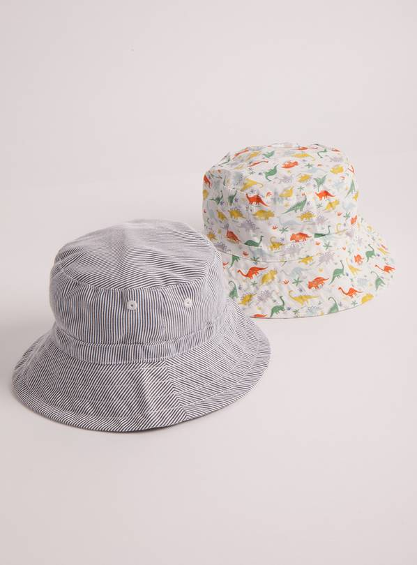 Stripe & Dinosaur Print Sunsafe Bucket Hat 2 Pack - 1-2 year