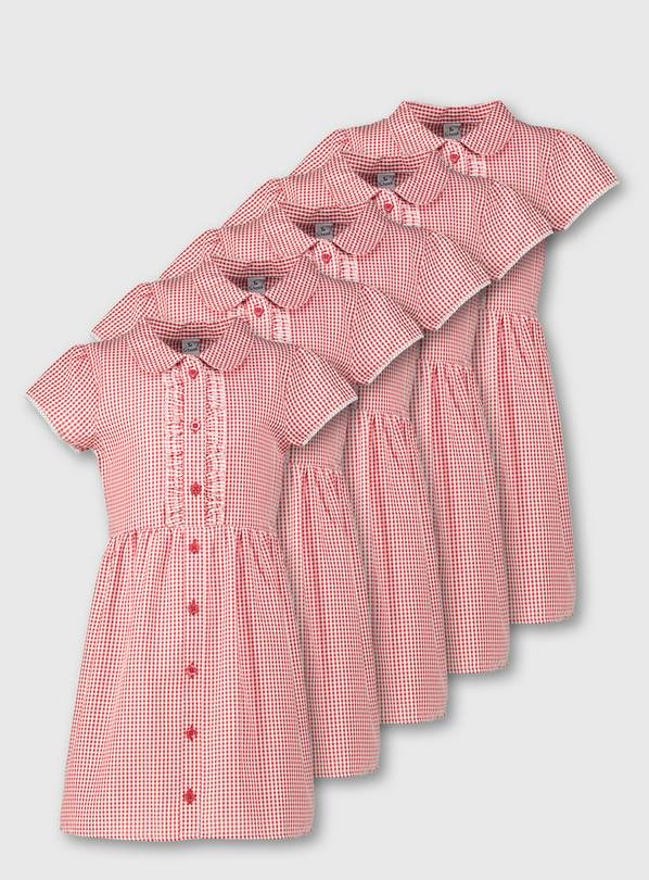 Red Classic Gingham School Dress 5 Pack - 3 years