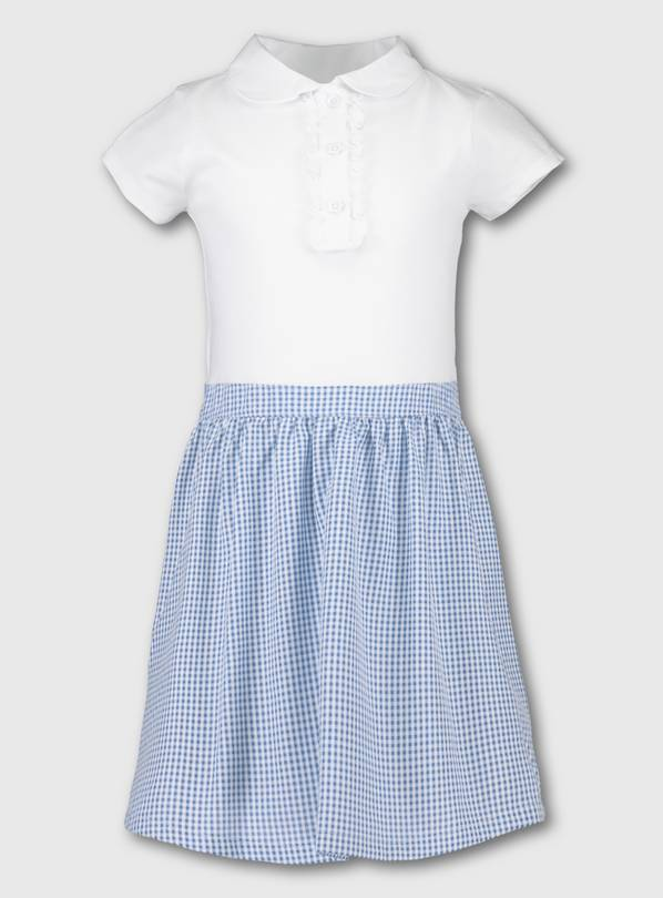 Blue Gingham School T-Shirt Dress - 7 years