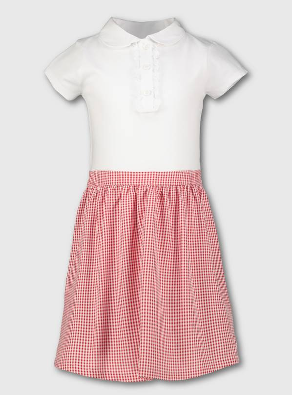 Red Gingham School T-Shirt Dress - 4 years