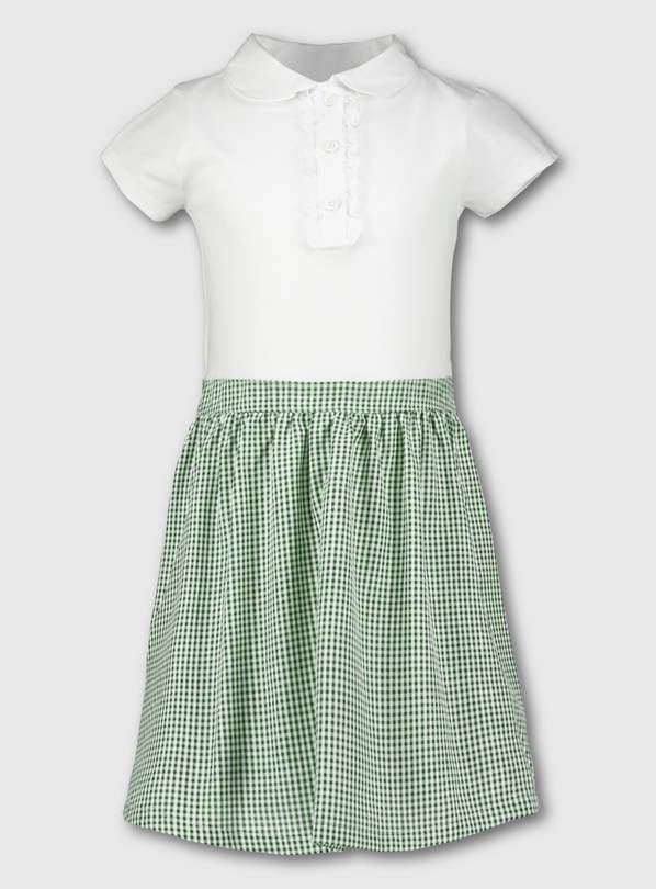 Green Gingham School T-Shirt Dress - 8 years