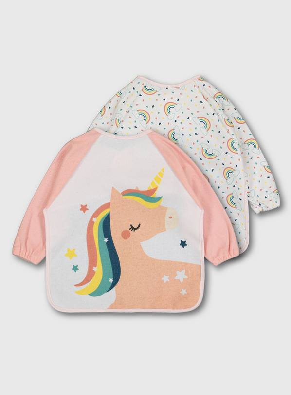 Unicorn & Rainbow Long Sleeve Bibs 2 Pack - One Size