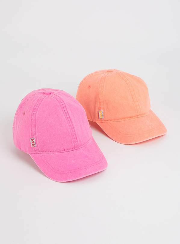 Pink & Orange Washed Caps 2 Pack - 1-2 years