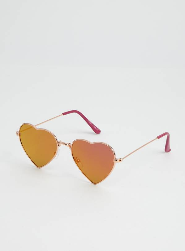 Rose Gold Heart Mirrored Sunglasses - One Size