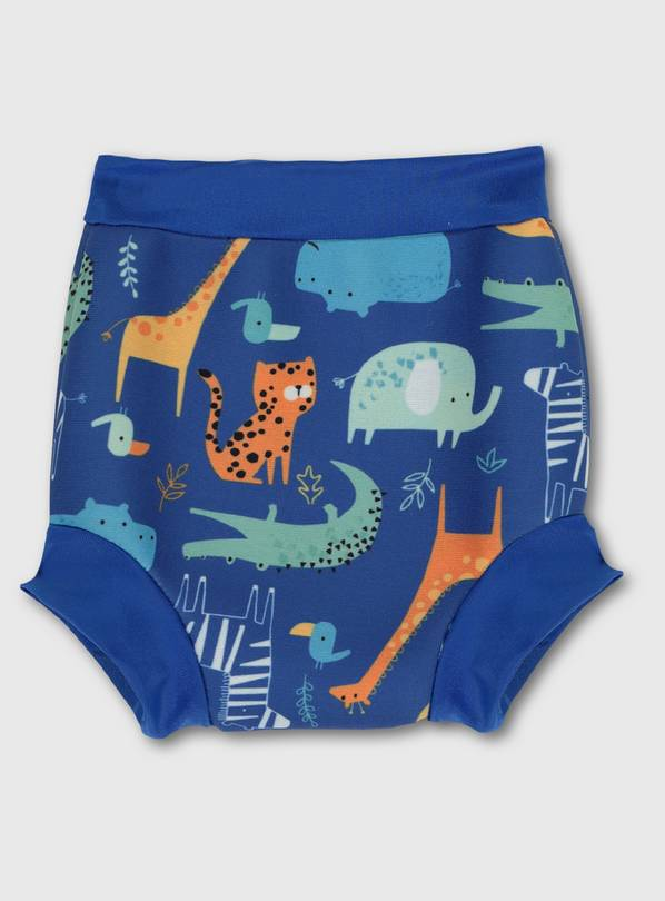 Blue Animal Print Swim Nappy - 9-12 months