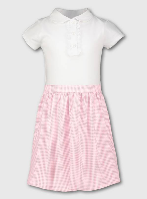 Pink Gingham School T-Shirt Dress - 5 years