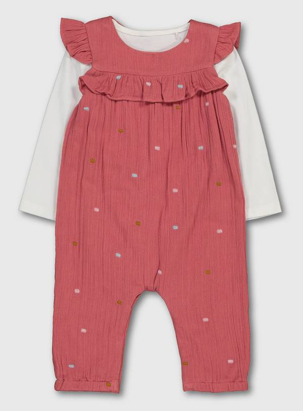 Pink Spot Crepe Dungarees & White Bodysuit - 6-9 months