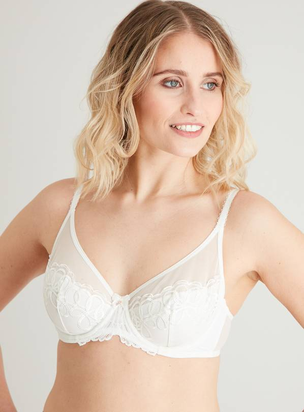 Ivory Luxury Embroidered Plunge Bra - 36D