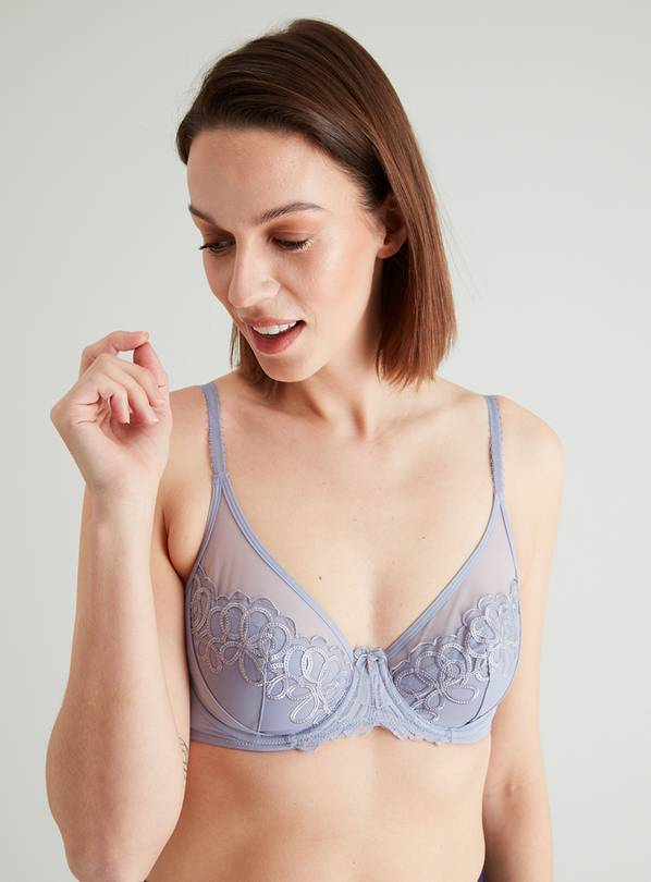 Lilac Luxury Embroidered Plunge Bra - 32B