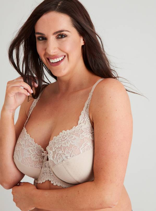DD+ Latte Nude Comfort Lace Full Cup Bra - 32G
