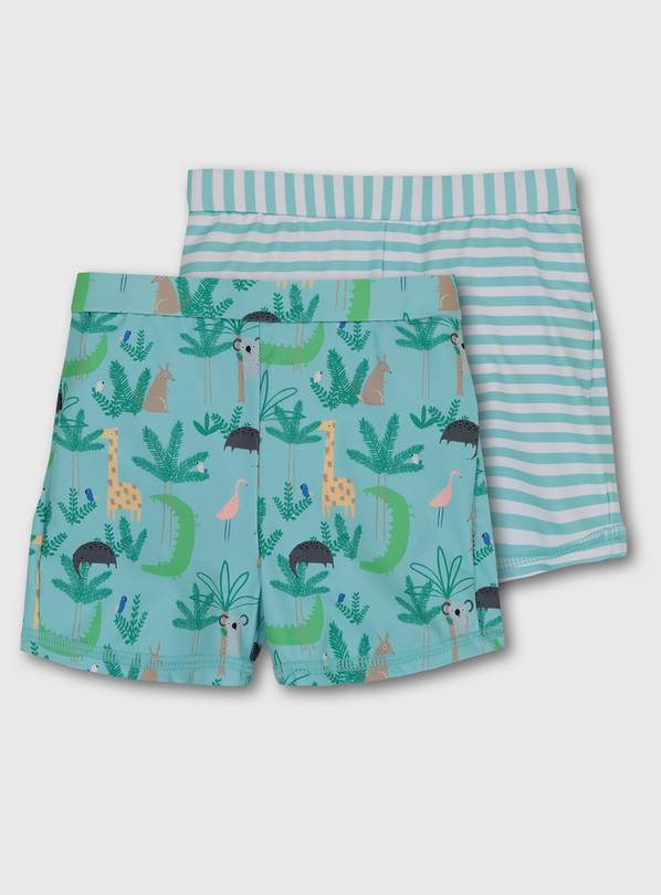 Aqua Blue Nappy Swim Shorts 2 Pack - 3-6 months