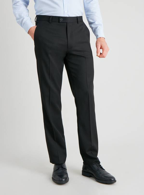 Black Gaberdine Tailored Fit Trousers - W34 L33