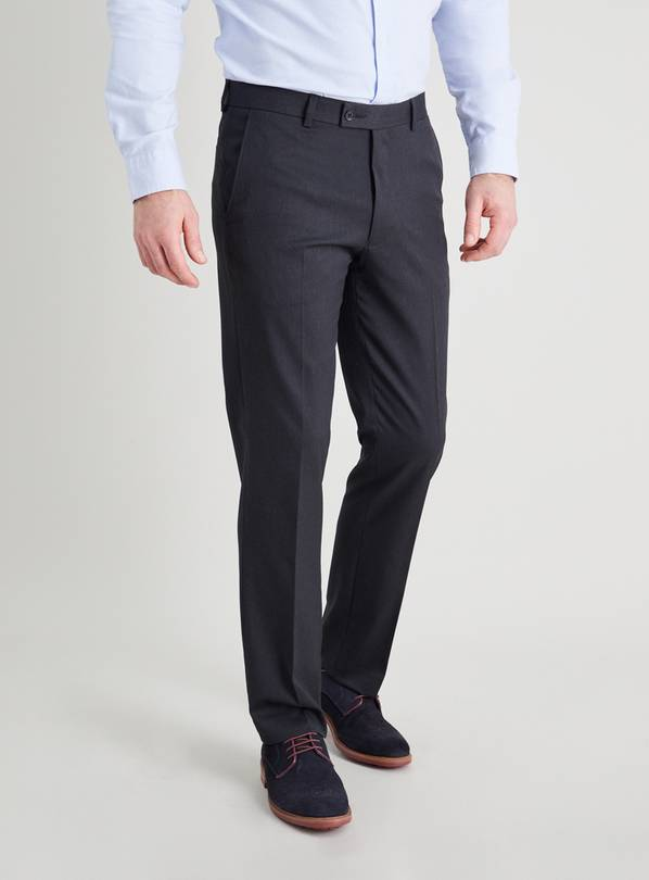 Charcoal Grey Gaberdine Tailored Fit Trousers - W40 L33