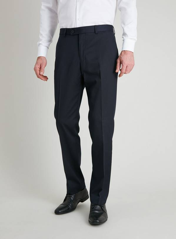 Navy Tailored Fit Trousers With Stretch - W40 L31