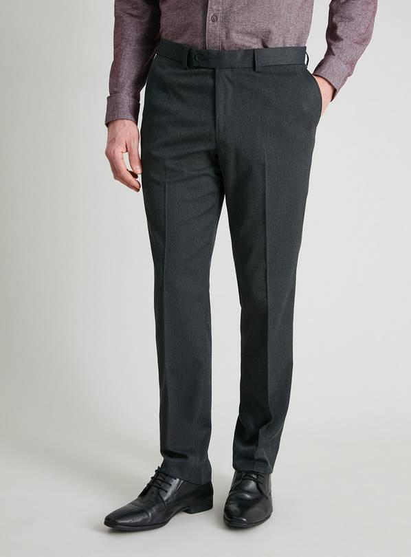 Grey Gaberdine Slim Fit Trousers - W36 L29