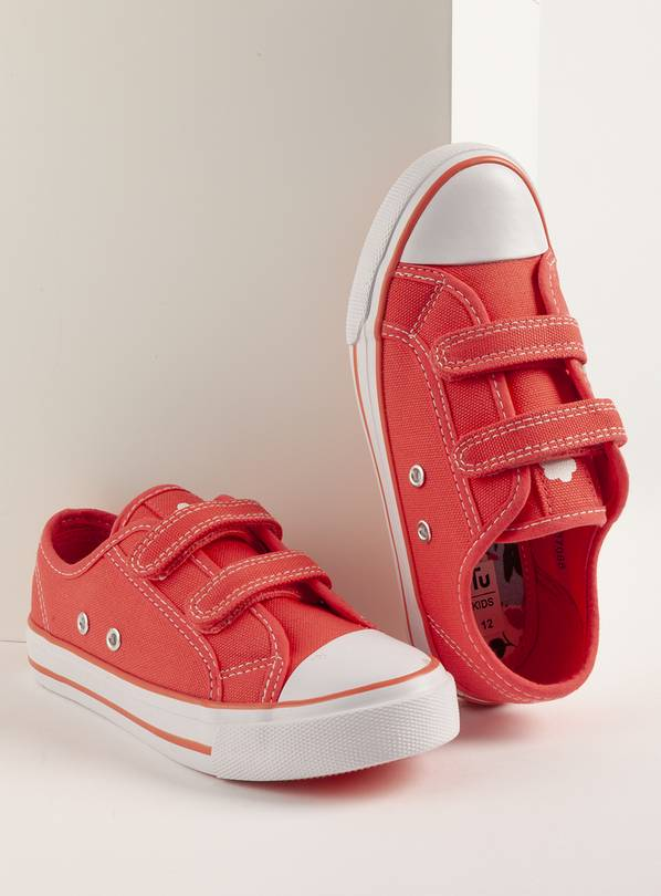 Coral Canvas Trainers - 8 Infant