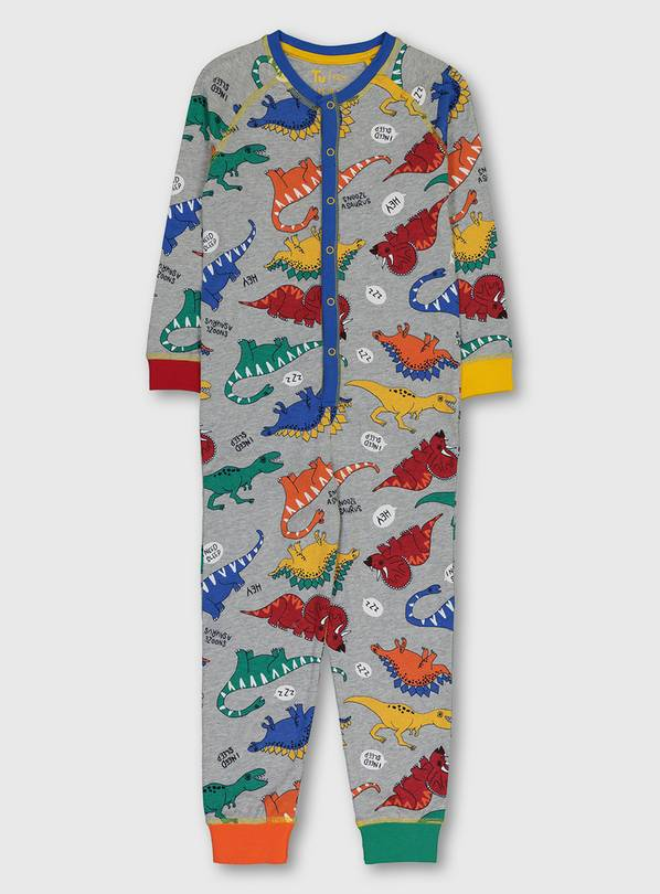 Grey Bright Dinosaur Print All In One - 1.5-2 years