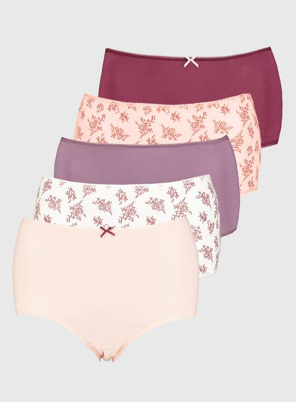 Pink Floral Print Full Knickers 5 Pack - 22