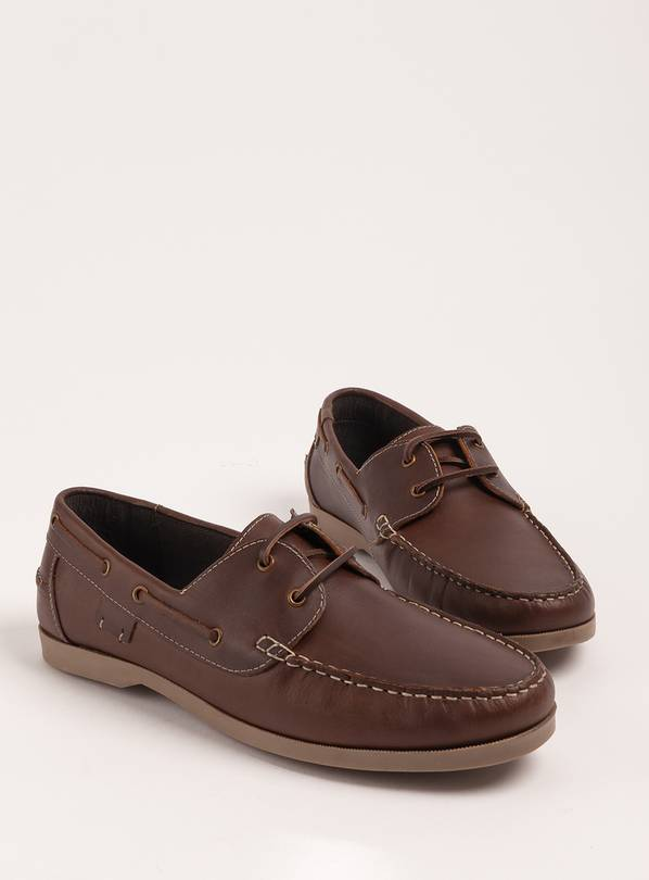 Sole Comfort Brown Leather Boat Shoes - 9