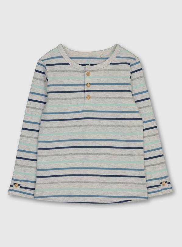 Grey Stripe Grandad Long Sleeve Top - 1.5-2 years