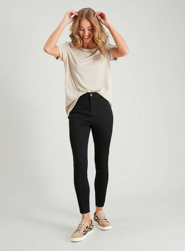 Black High Waisted Skinny Jeggings With Stretch - 12S