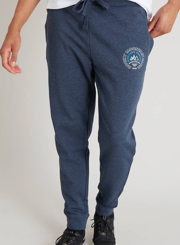Navy Marl Slim Fit Joggers - L