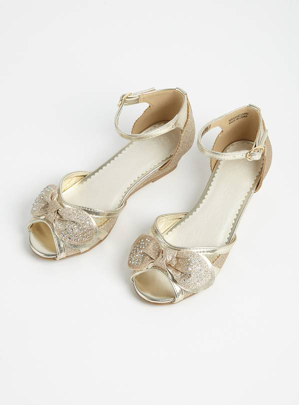 Gold Glitter Bow Wedges - 12 Infant