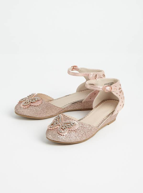 Pink Butterfly Glittery Wedges - 11 Infant
