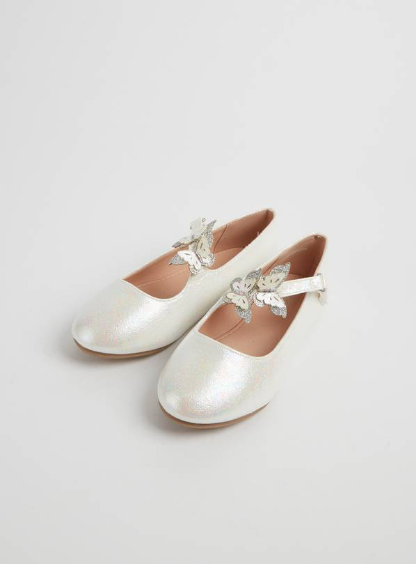 White Butterfly Pearlescent Occasion Shoes - 7 Infant