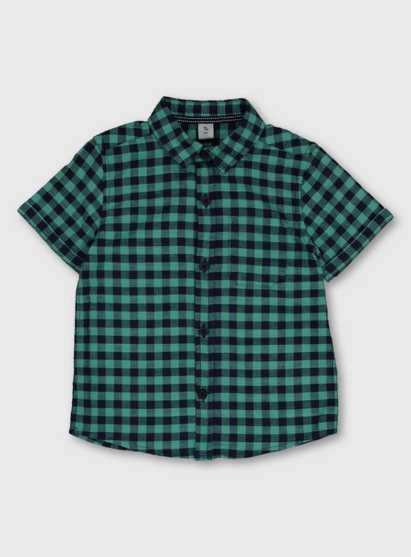 Teal & Navy Check Short Sleeve Shirt - 9-12 months