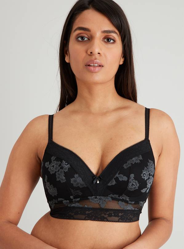 Black Two Tone Lace Longline Plunge Bra - 34E