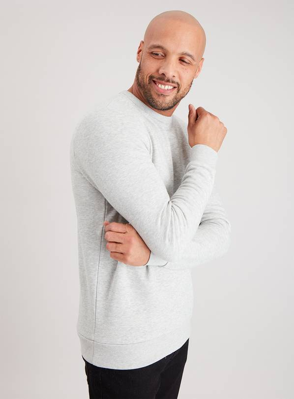 Grey Marl Crew Neck Sweatshirt - S