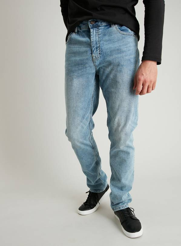Light Wash Denim Tapered Fit Jeans With Stretch - W36 L34