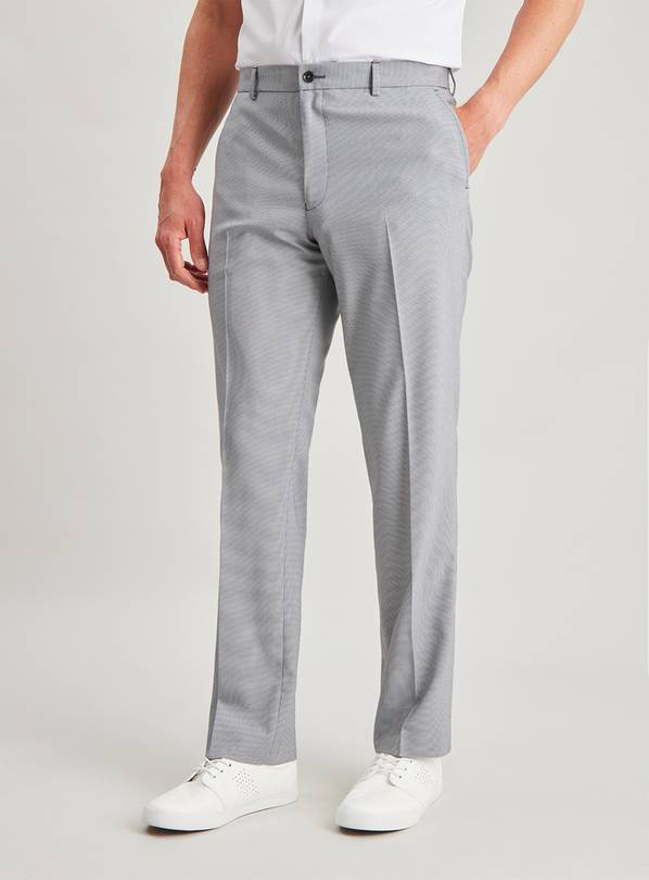 Grey Micro Dogtooth Tailored Fit Trousers - W34 L29
