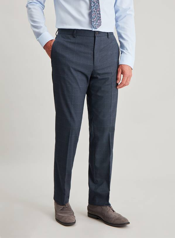 Blue Check Tailored Fit Trousers - W40 L35