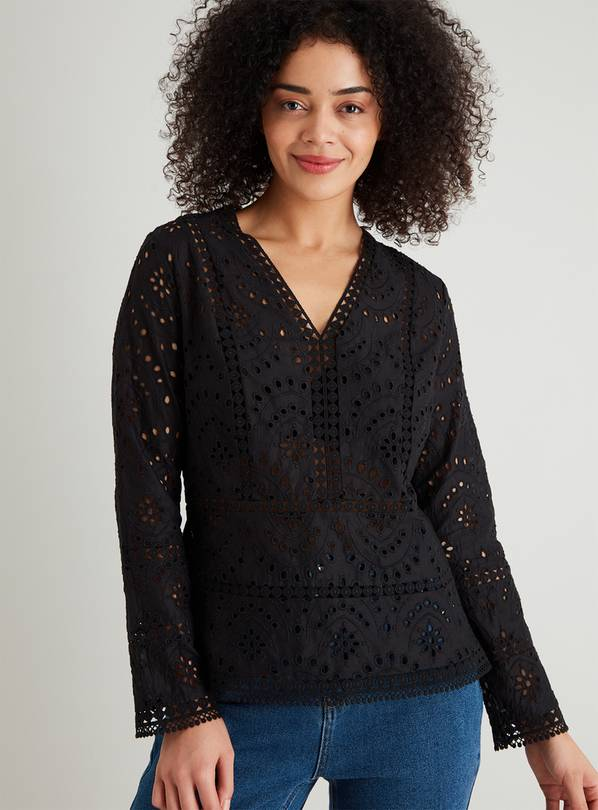 Black Schiffli Lace V-Neck Blouse - 20