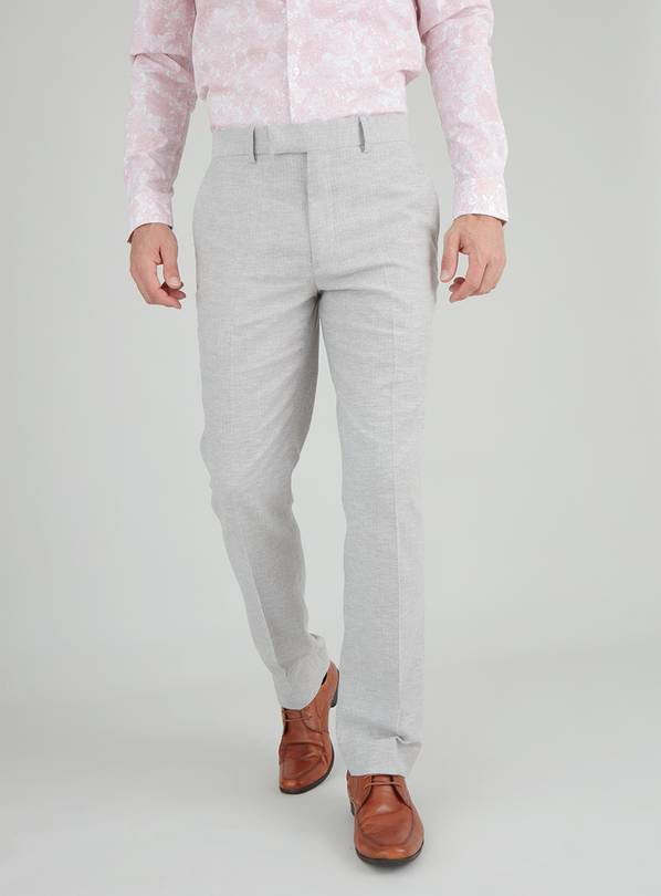 Grey Herringbone Tailored Fit Suit Trouser - W42 L33