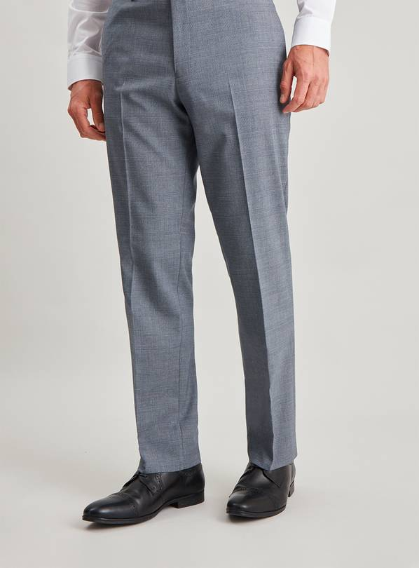 Blue Check Tailored Fit Suit Trousers - W32 L33