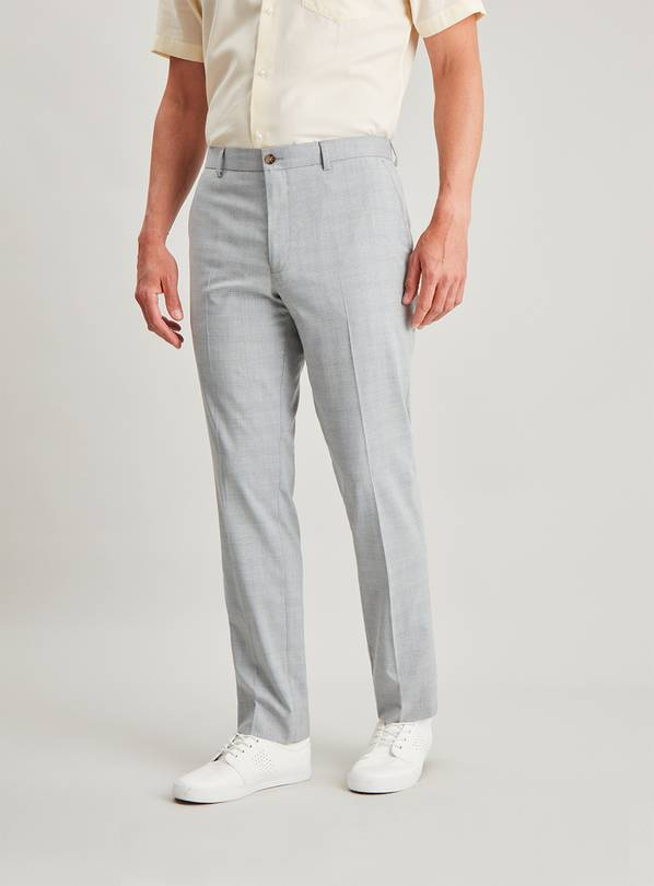Grey Check Slim Fit Trousers - W40 L35