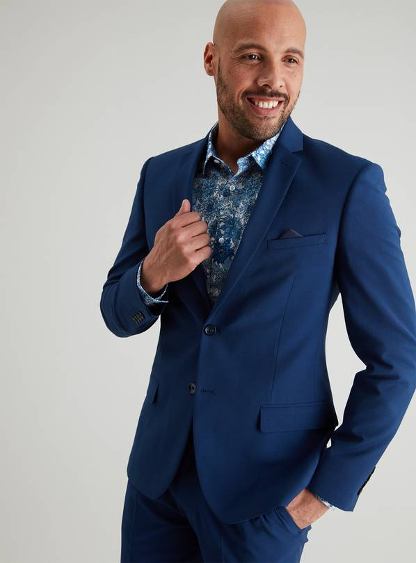 Mini Me Blue Textured Slim Fit Suit Jacket - 46L